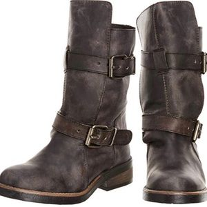 STEVE MADDEN Caveat Leather Moto Boots